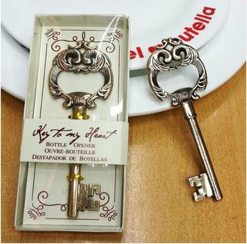 High Quality Golden Vintage Alloy Key Shape Beer Bottle Opener Cap Opener Household Article Home Decoration Gift 50Piece