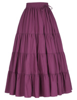 Indian Lady Cotton Clothing Purple Beach Wear Long Cotton Skirt Maxi Boho Hippie