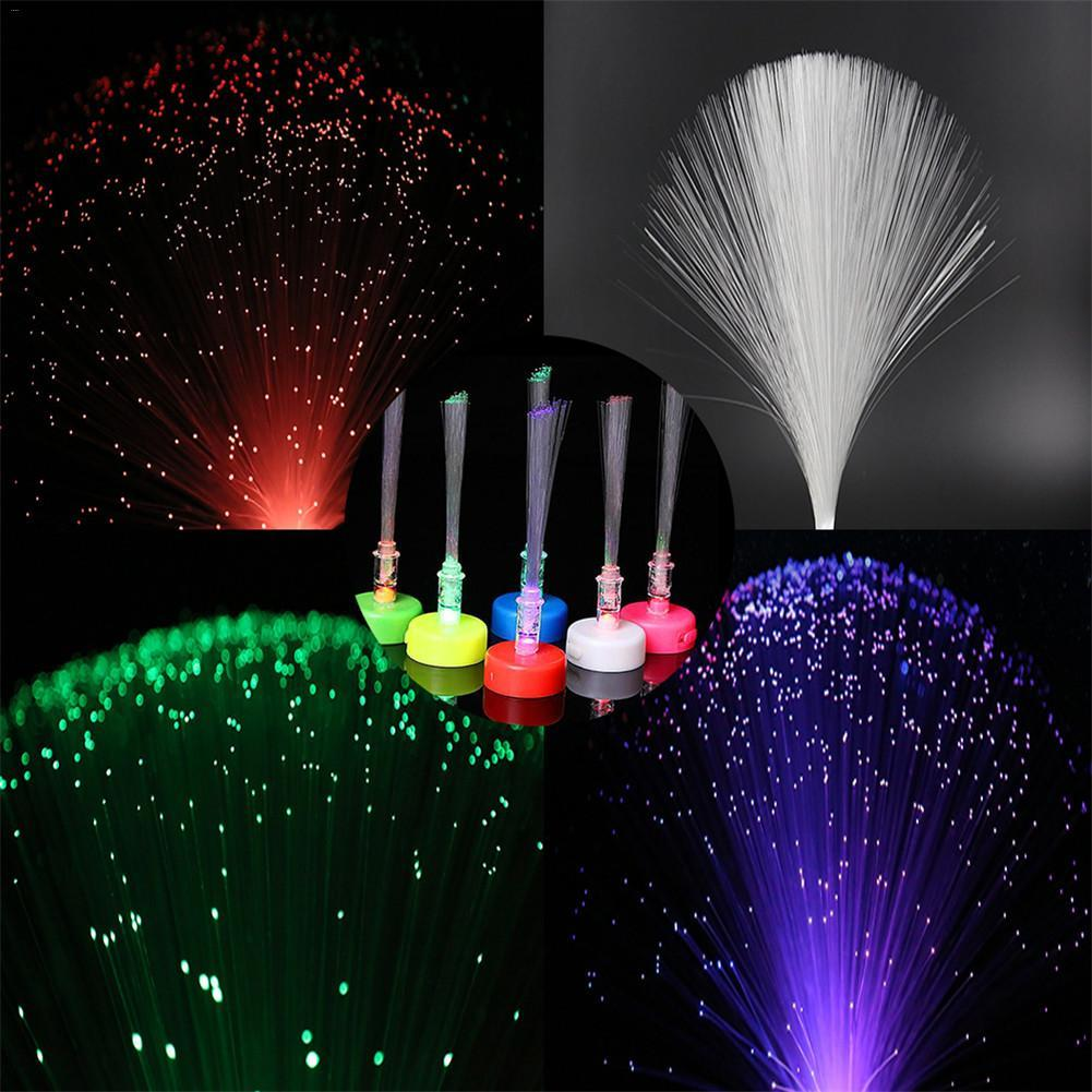 10PCS LED Fiber Small Candle Light Mini Candle Fiber Optic Christmas Tree With Button Battery (Color Box Packing + Random Color)