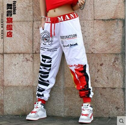 New fashion Brand Sweatpants Costumes stage performance wear Red White graffiti jazz trousers Striped Harem Hip Hop Dance Pants striped side sweatpants