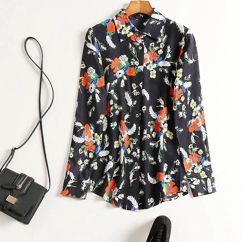 100 Silk Blouse Women Shirt Printed Turn down Collar Long Sleeves Simple Design Casual Top Vintage Style New Fashion 2019 in Blouses amp Shirts from Women 39 s Clothing