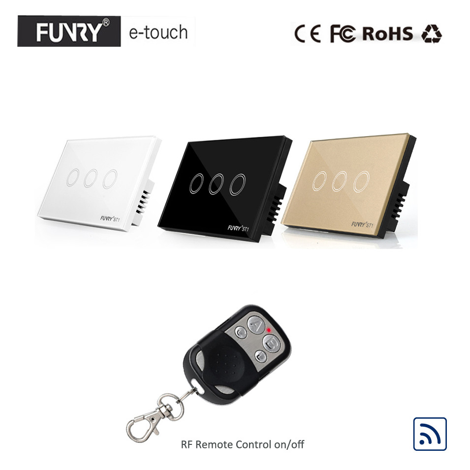 Funry US/AU Standard,Luxury Crystal Glass Panel Touch Light Switch, 3 Gang 1 Way RF433 Remote Switch, Wall Switch for Smart Home 2017 smart home us standard wireless remote control 3 gang 1 way wall light touch switch white crystal glass panel ac 110v 240v