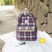 купить British style Backpack 100% Cotton Canvas grids School Bag for Teenage Girls Large Capacity Lightweight Leisure or Travel Bag дешево