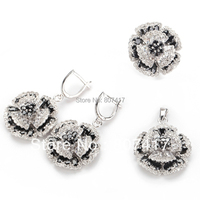 SHUNXUNZE charm wedding jewelry sets(ring/earring/pendant) for women flower Black and White Cubic Zirconia Silver Plated R917set