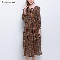 Summer Striped Dress Women Clothing Wrist Lantern Sleeve Lace Up V Neck Draped Mid Calf Dress