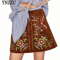 YNZZU Vintage Embroidered Floral Women Leather Suede Skirts 2017 Autumn Fashion High Waist A Line Elegant Mini Skirts YB168