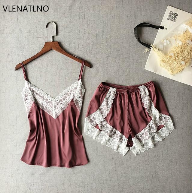 VLENATLNO Women's Sleepwear Sexy Satin Pajama Set White Lace V-Neck Pyjamas Sleeveless Cute Cami Top and Shorts 1