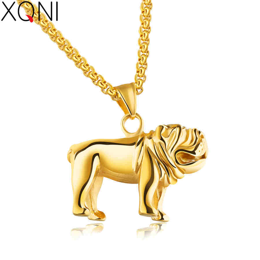 XQNI 55CM Pendant Necklace Classic French Bulldog Steel Color Golden Black High Quality Stainless Steel Mans Necklace Present