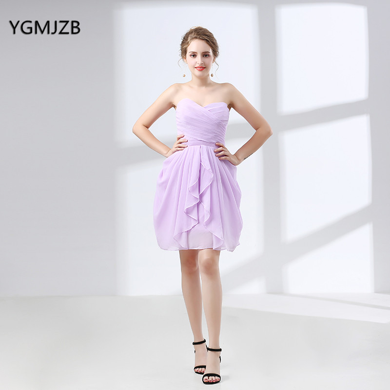 Lilac Bridesmaid Dresses 2017 Knee Length Strapless Chiffon Floor Length Women Formal Gowns Elegant Wedding Party Prom Dresses