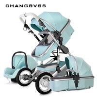 Новый стиль Детские коляски 3 в 1 люкс складной новорожденных карета с Автокресла 0 ~ 3 лет Детские коляски спальные корзины малыш poussette
