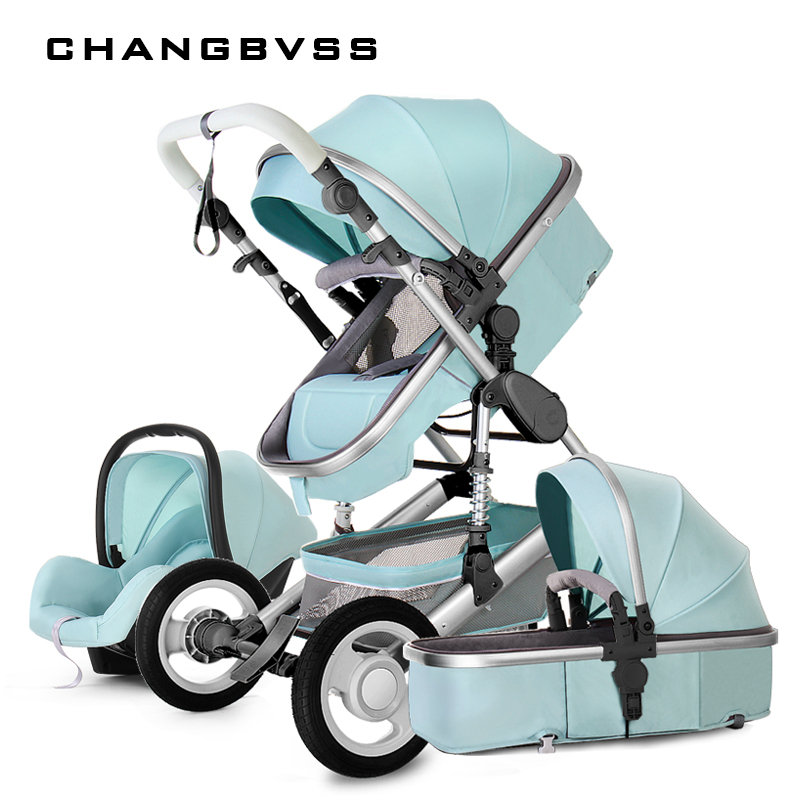 New Style Baby Stroller 3 In 1 Luxury Folding Newborns Carriage With Car Seat 0~3Years Baby Prams Sleeping Basket Kid poussette