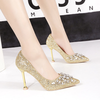 Glitter bling Pumps Woman shoes wedding High Heels Slides luxury rhinestone Shallow Shoes Crystal Pointed toe Slip on Sandals