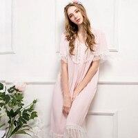 Summer Sleepwear Female Pink Cotton Silk Thin Sweet Embroidery Mesh Short Sleeve Nightdress Princess Woman Nightgowns D150607A