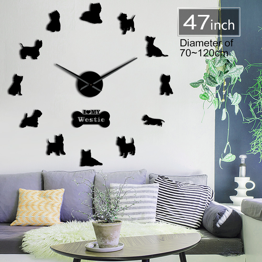 West Highland White Terrier Diy Giant Wall Clock Mirror