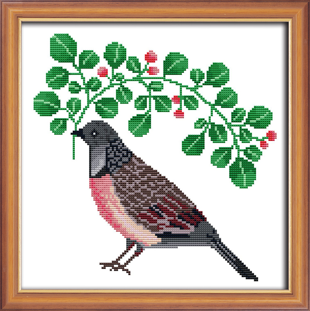 Small Sizeprecisely Print Counted Cross Stitch Set Bird Fabric
