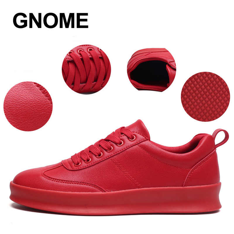 GNOME Black White Red Designer Casual Shoes Men Anti-Slip Simple Men Shoes PU Mans Footwear Breathable Tenis Sneakers Men