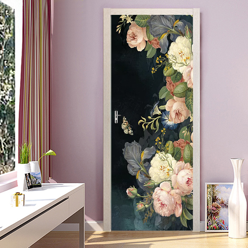 3D Durable Renovation Door Sticker Print Canvas Rose Flower Picture Modern Diy Home Decor PVC Self Adhesive Waterproof Wallpaper