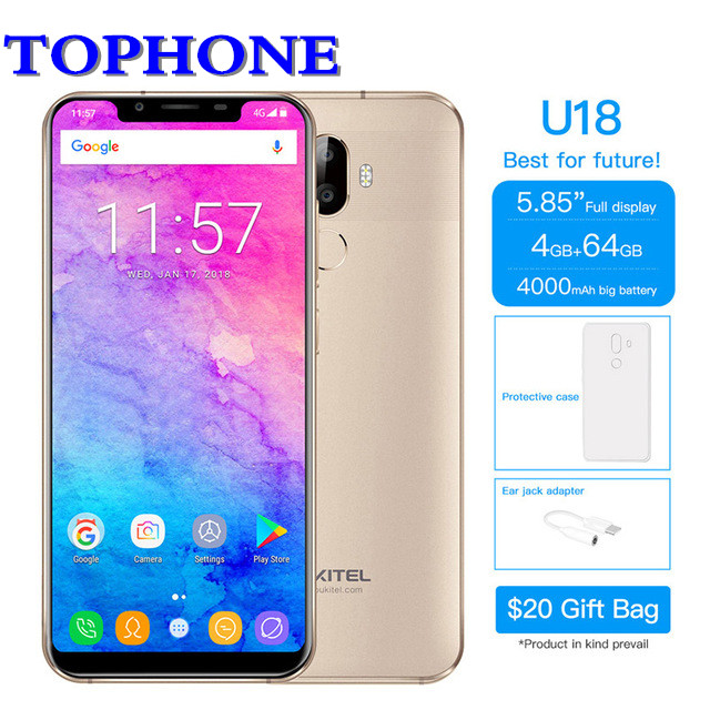 Oukitel 21:9 5.85 FHD Mobile Téléphone Android 7.0 MT6750T Octa Core 4 gb RAM 64 gb ROM 16MP 4000 mah 4g LTE Visage ID Smartphone
