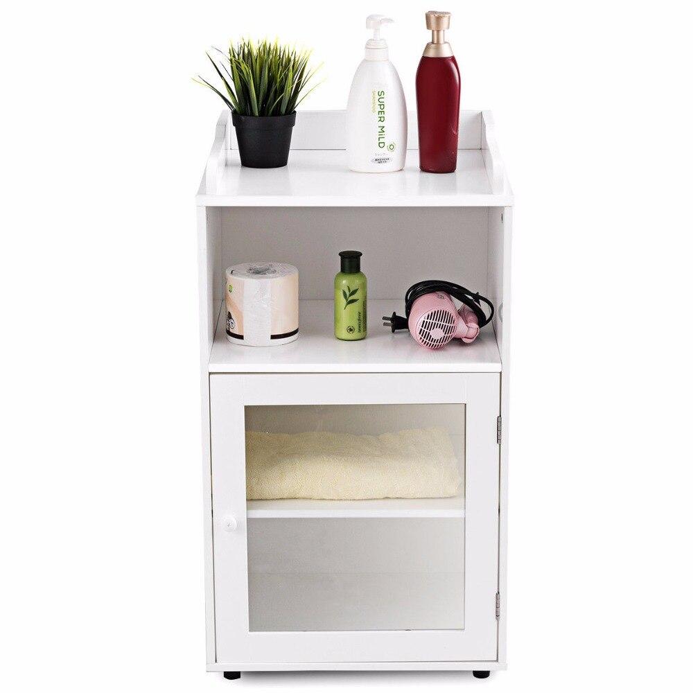 Giantex Bathroom Floor Cabinet End Table Storage Adjustable Shelf Organizer W/Door White HW59316 3