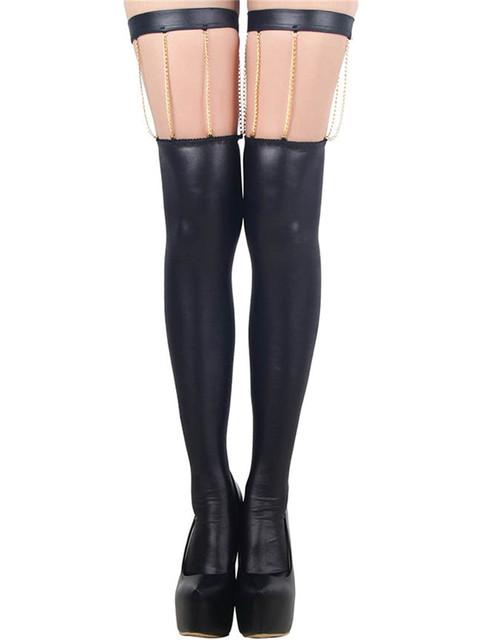80057 Populares diseño especial atractivo encima de la rodilla de las mujeres medias negras medias populares medias de cuero de imitación
