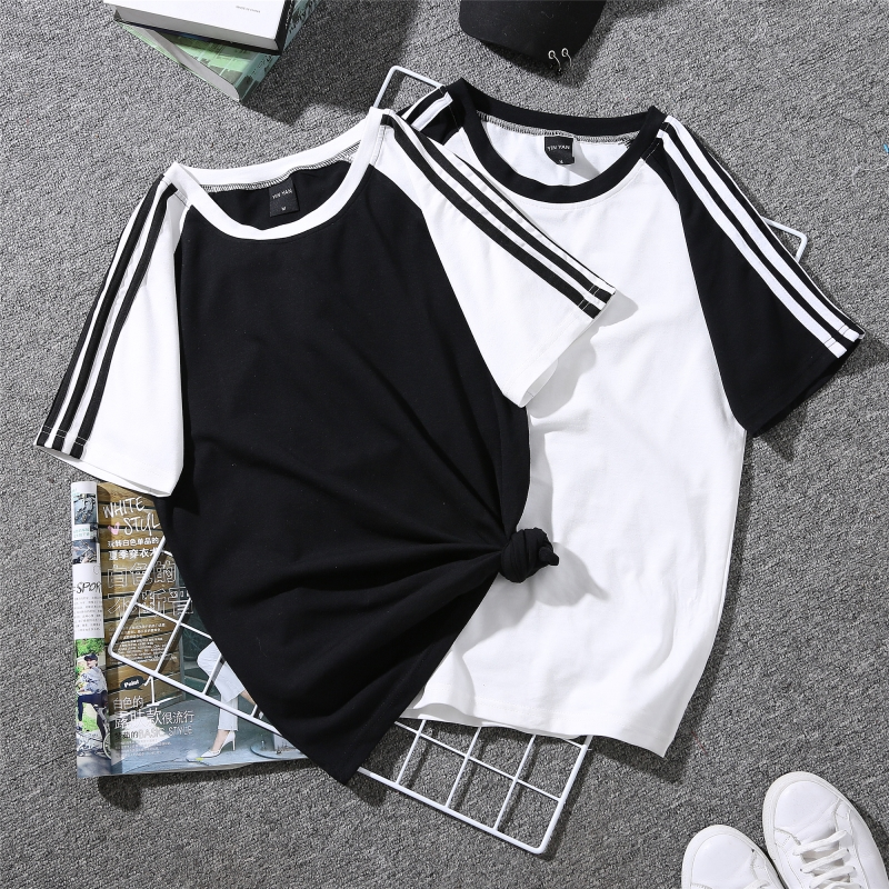 TEAEGG Short sleeve T-shirt women girl 2018 New loose pattern joker bts summer Comfortable stripe harajuku Jacket WXD8041 multicolor stripe short sleeve loose t shirt