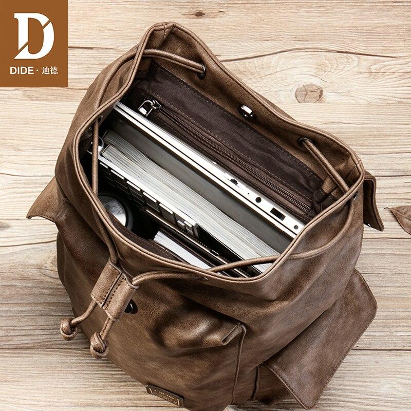 DIDE pokrywa wodoodporny plecak mężczyźni 14 15 Cal plecaki na laptopa dla mężczyzn torba szkolna szrot lub podróży plecak PU skórzana torba w Plecaki od Bagaże i torby na  Grupa 3