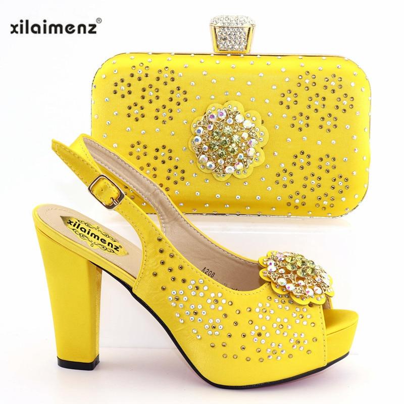 fuchsia Style Dames Blue Assorties Spécial Pour De Parti Chaussures Et Talons Ensemble Sacs En 2019 Jaune yellow purple Italiennes Nigérien BRTqxw4
