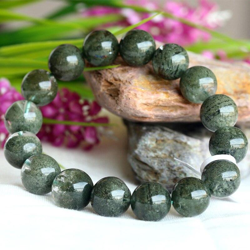 Natural High Quality Clear Genuine Cornucopia Green Phantom Quartz Men's Stretch Bracelet Round Beads 13mm