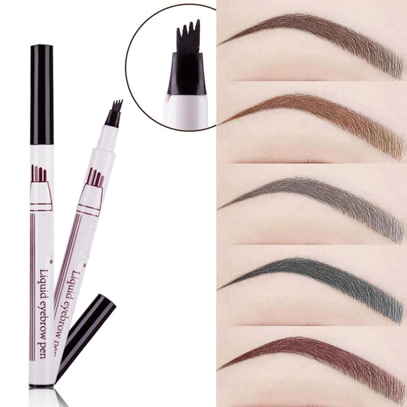 1Pcs Women Makeup Sketch Liquid Eyebrow Pencil  Waterproof Brown Eye Brow Tattoo Dye Tint Pen Liner Long Lasting Eyebrow(China)