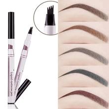 1Pcs Vrouwen Make Schets Vloeibare Wenkbrauwpotlood Waterdicht Bruin Eye Brow Tattoo Dye Tint Pen Liner Langdurige Wenkbrauw