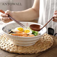 ANTOWALL Vintage ceramic Chinese style noodles bowl salad soup dish bowl home restaurant ramen bowl
