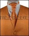 Горячая продажа бесплатная доставка твердого orange скидка свадебное жилет (жилет + ascot галстук + запонки + платок)