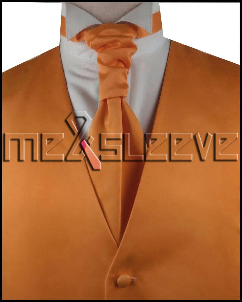 hot sale free shipping solid orange discount wedding vest vest ascot tie cufflinks handkerchief