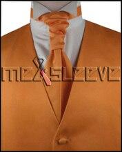 hot sale free shipping solid orange discount wedding vest (vest+ascot tie+cufflinks+handkerchief)