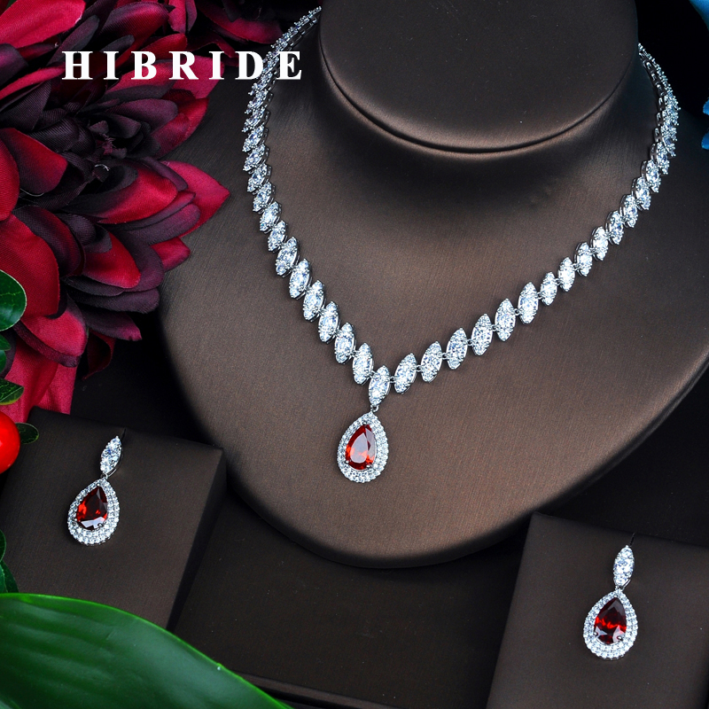 HIBRIDE  Luxury Marquise Cut Cubic Zirconia Women Jewelry Sets Red Water Drop Set Wedding Dress Accessories Party Gifts N-489