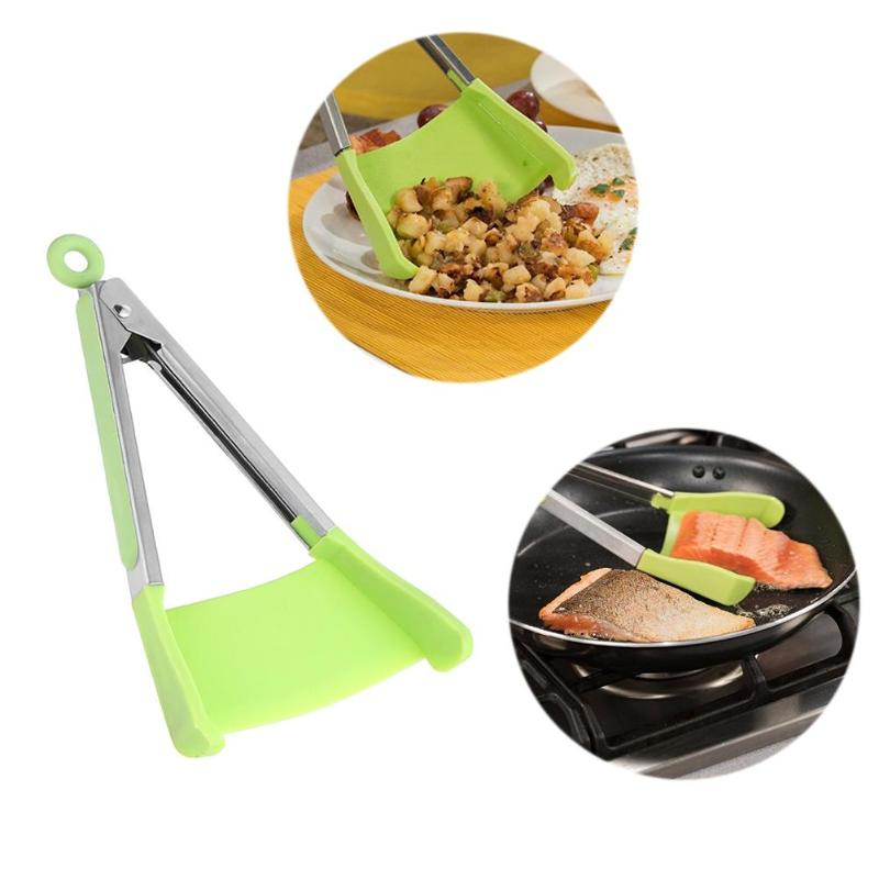 Silicone Kitchen Spatula Tongs Clip Non-stick Heat Resistant Shovel Stainless Steel Handle For Pan Kitchen Utensil Tools