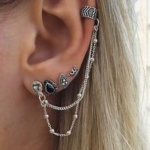 Vintage Set Earrings For WomenBohemian Retro Style Crown Water Droplets Chain Boho Fashion Jewelry Oorbellen