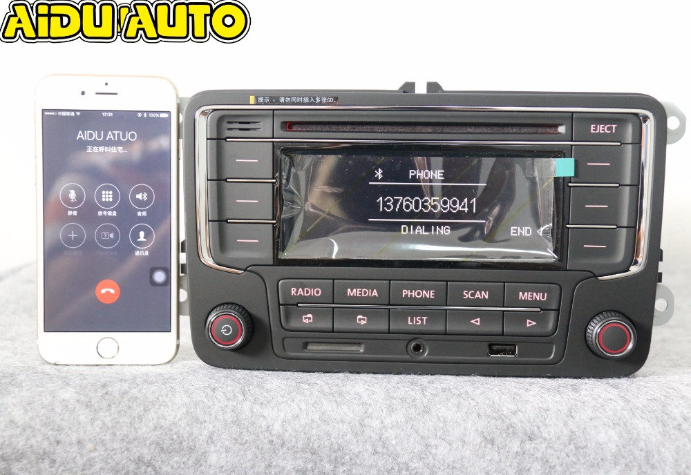 AIDUAUTO בשימוש RCN210 Bluetooth MP3 נגן USB CD רדיו MP3 עבור VW גולף 5 6 Jetta Mk5 MK6 Passat B6 CC B7