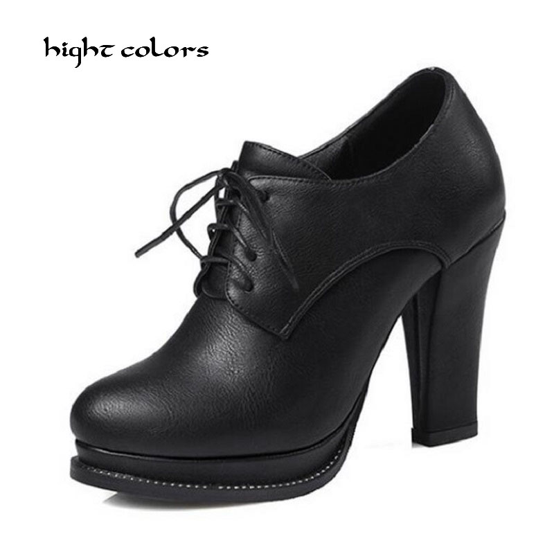 hight colors Brand Zip Women Boots Thick Heel Platform Shoes Lace Up Autumn Winter Sexy Boot For Women Riding Ankle Boots HC105