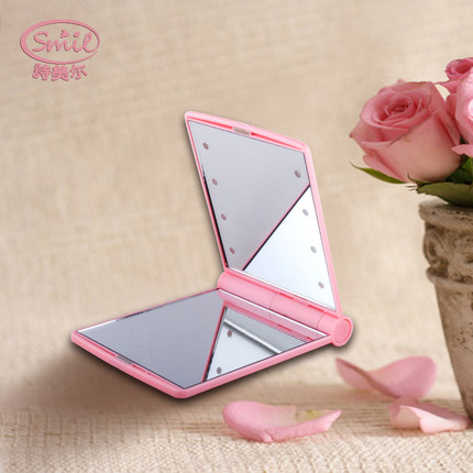 Mini LED makeup mirror small folding mirror portable Cosmetic mirror Personal care cleaning washing  products makeup tools bob cosmetic makeup powder w puff mirror ivory white 02
