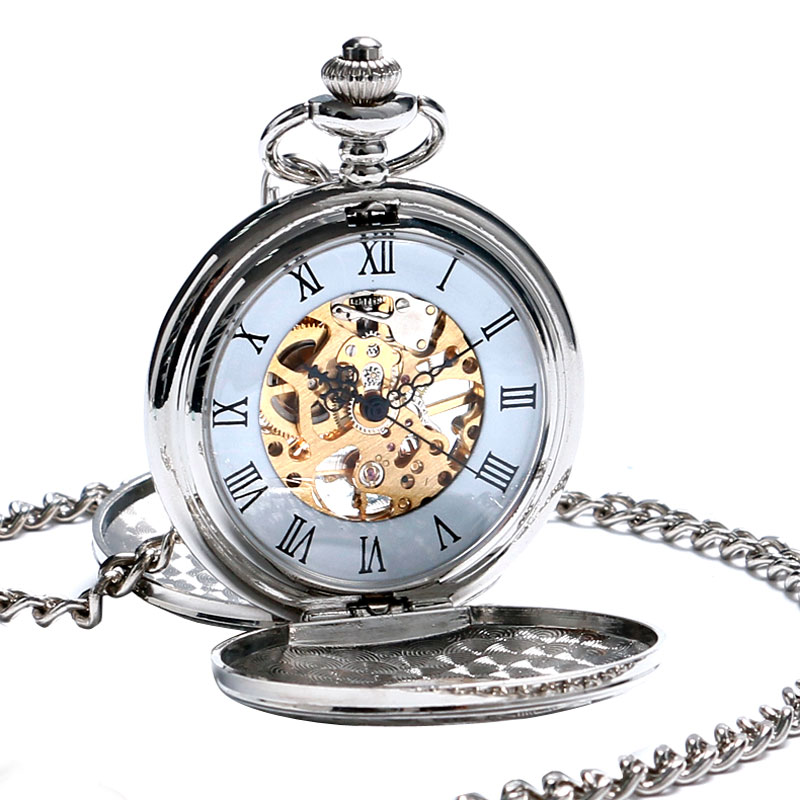 Skeleton Pocket Watch Mechanical Movement Hand Wind Roman Numerals Full Hunter Silver Tone Classic with Gift Box Chain Pendant