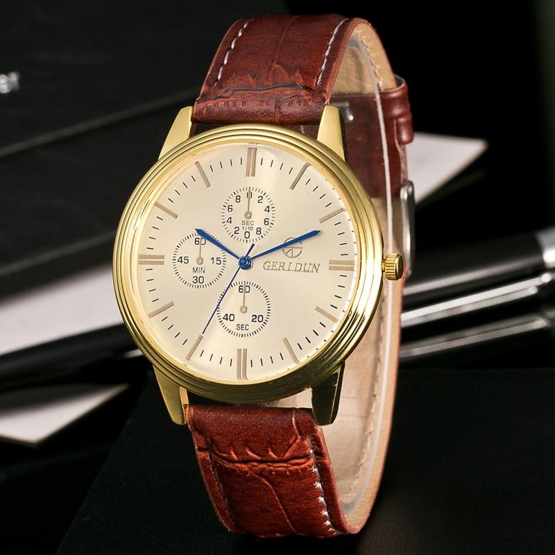 Bestverkopende Militaire Horloges Herenmode Gestreept Leer Kwarts - Herenhorloges - Foto 2