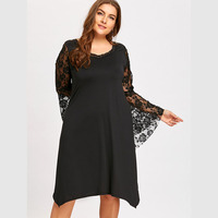 CharMma 2017 New Sexy Plus Size 5XL Black Dress Women Brief Lace Flare Long Sleeve Autumn