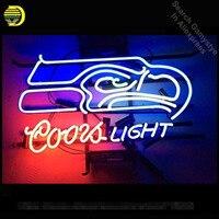 17 х 14 спортивных команд CL пива SS eahawks ручной работы реального Стекло неоновая вывеска пивной бар Light логотип Неоновые огни Книги по искусств