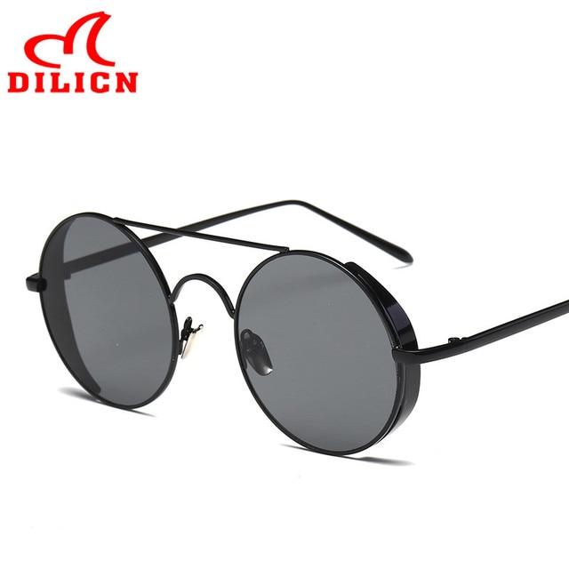 1ff7a8890e2 DILICN Black Thick Metal Frame Round Sunglasses 2017 Women s Vintage  Steampunk Goggles Female Casual Trend Sun Glasses UV400