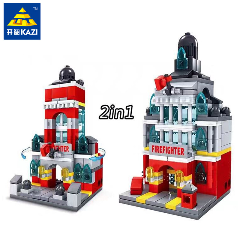 KAZI 141pcs/set Mini Fire Department Building Blocks ABS Plastic Construction Educational Bricks Kit Assembled Toys for Children kazi fire department station fire truck helicopter building blocks toy bricks model brinquedos toys for kids 6 ages 774pcs 8051