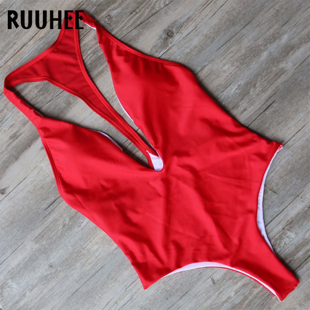 RUUHEE Sexy One Piece Swimwear Women's Swimming Suit Bodysuit Push Up Swimwear Solid Bathing Suit Summer Beach Wear With Pad