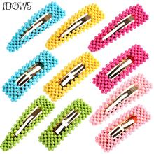 Candy Color Hair Clips for Girls Colorful Beads Rectangle Waterdrop BB Clip Barrettes Girls Hairpin Hair Accessories
