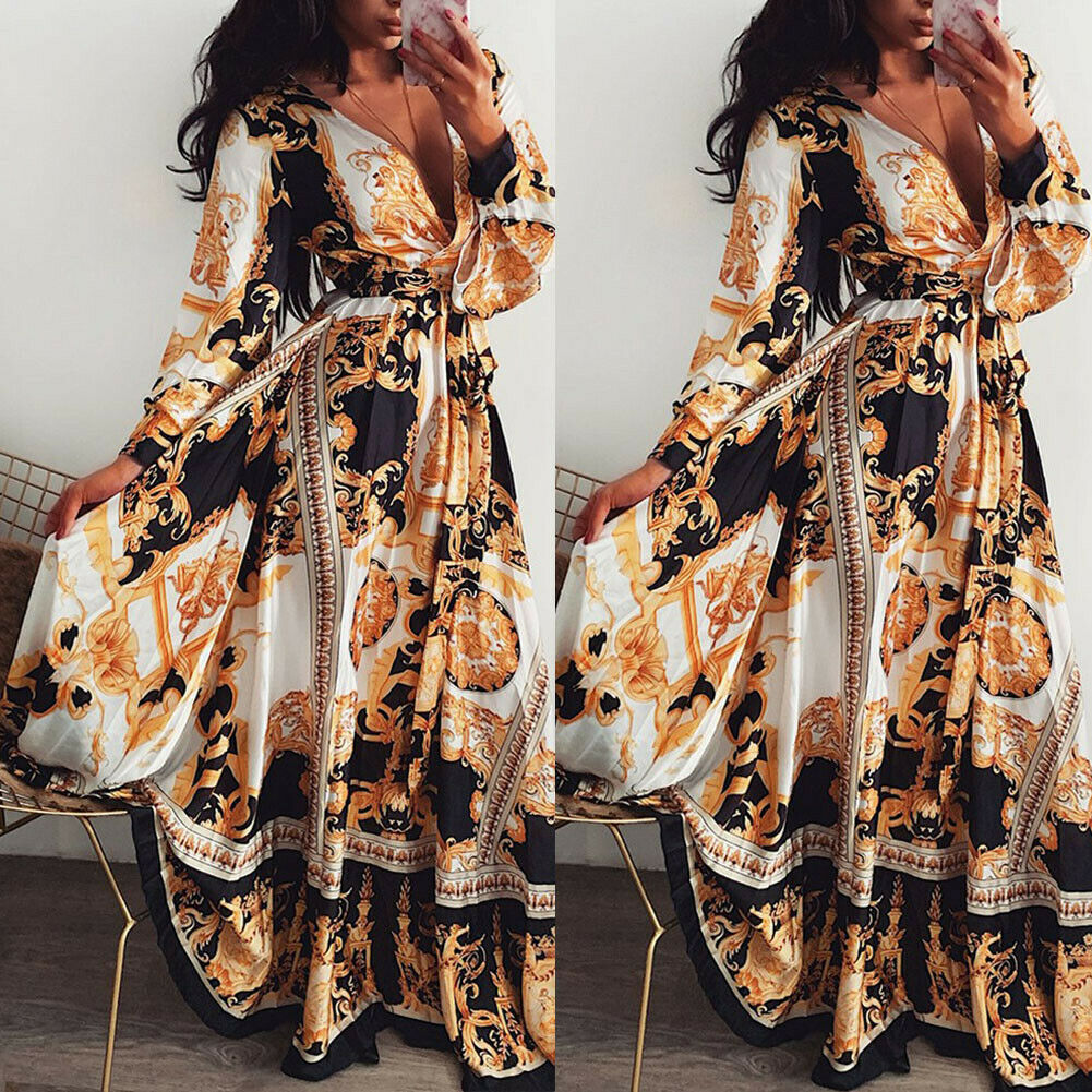 Women Floral Print Long Sleeve V-Neck Boho Dress Vintage Holiday Evening Party Dresses Loose Long Split Bandage Maxi Dress  New