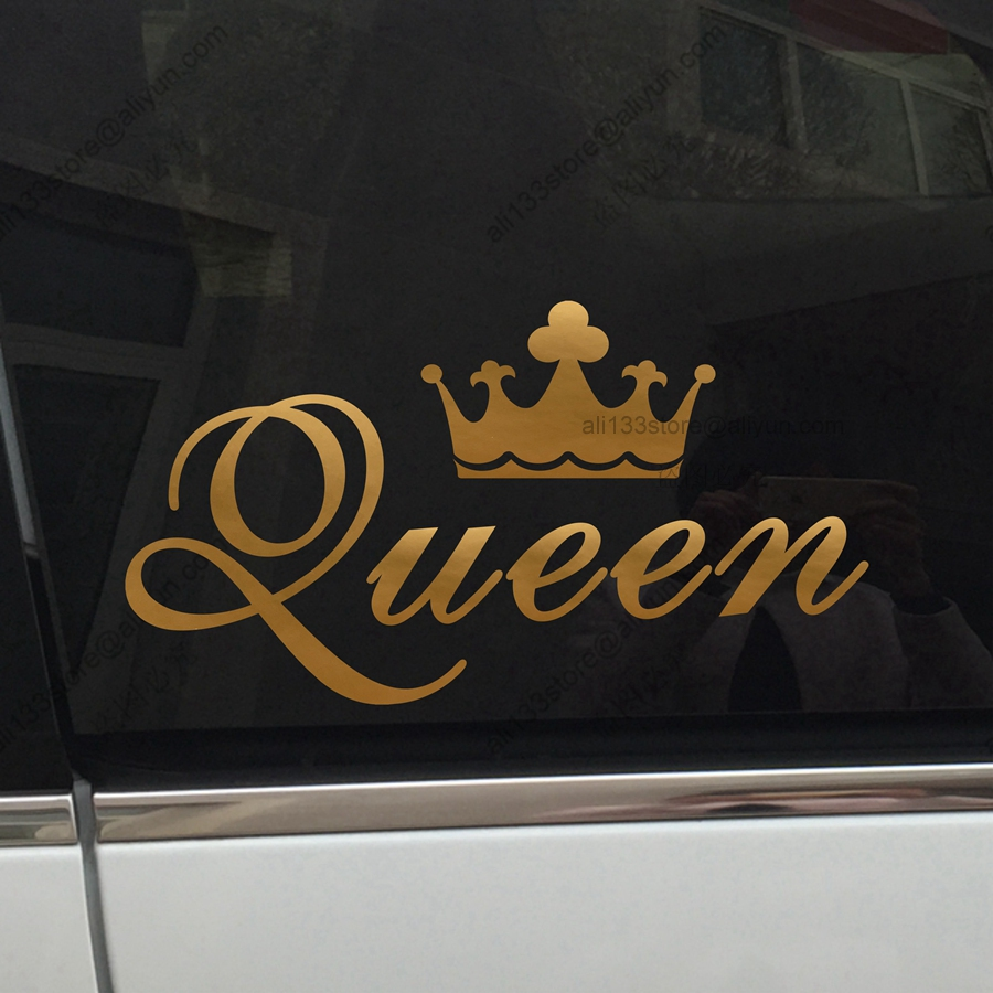 King crown gold queen crown gold funny car car decal sticker vinyl truck boat die cut no background in car stickers from automobiles motorcycles on